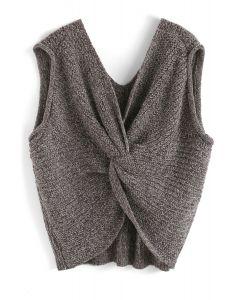 Surprise Me Twist Oversize Knit Vest in Brown