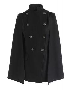 Manteau de cape à double boutonnage Royal Elegance en noir