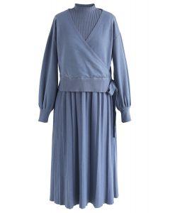Found ma robe twinset en maille âme soeur en bleu
