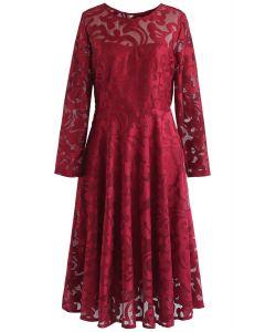 Soiree Stunner Robe Midi En Résille Rouge