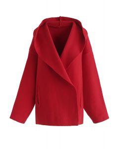 Vous serez en sécurité ici Cardigan en tricot à capuche en rouge