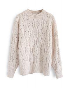 Mon nouveau pull en tricot torsadé en ivoire