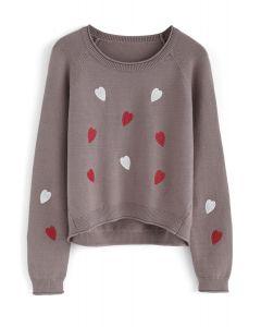 L'amour est tout chérie haut en tricot en taupe