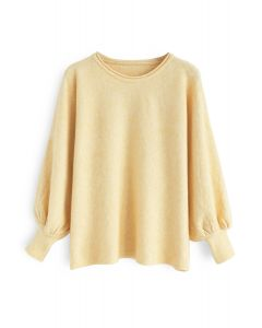 Pull en tricot Dreamy Macaron avec bulles et manches jaunes