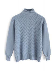 Pull Love en tricot automatique bleu