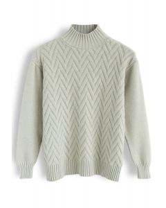 Automatic Love Knit Sweater in Pea Green