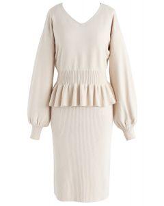 Robe twinset tricotée Sweetness Surrounding à la crème