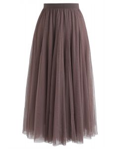 My Secret Arme Tulle Maxi Jupe en Marron