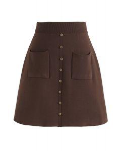 Charme dans cette voie Mini jupe en tricot brun