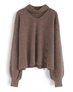 De moi à toi pull en tricot tan