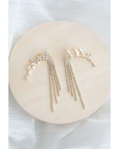 Boucles d'oreilles pompon chaîne en cristal