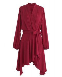 Robe portefeuille asymétrique en rouge