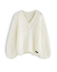 Quelle est la profondeur de votre amour Pull en grosse maille tricoté à la main en ivoire