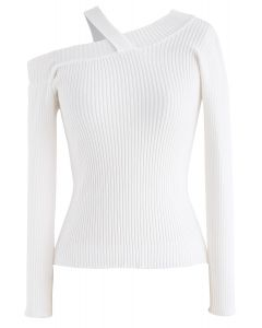 Coming Back One-Shoulder Knit Top in White
