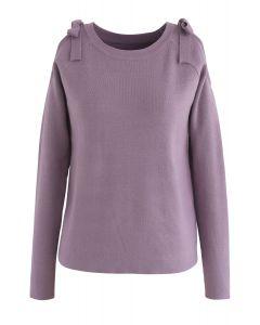 Haut tricoté confortablement à épaules dénudées en lilas