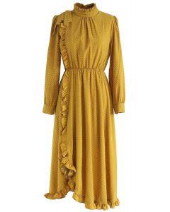 Love Goes on Asymmetric Polka Dots Dress in Mustard