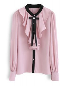 Glamour of Bowknot Ruffle Top en mousseline de soie en rose