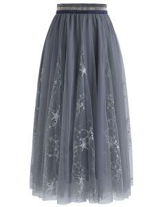 Etoiles filantes Jupe mi-longue en tulle– couleur gris