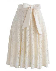 Viens avec moi jupe trapèze en dentelle bowknot