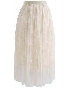 Jupe mi-longue en tulle plissé en tulle plissé et à motifs florescent