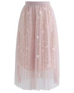 Jupe mi-longue en tulle plissé à mailles fluo de couleurs fluorescentes, rose