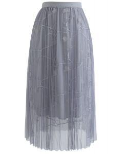 Jupe mi-longue en tulle plissé à mailles fluorescentes Dream en gris