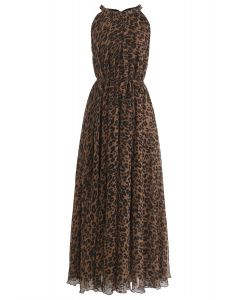 Léopard Aquarelle Maxi Slip Dress in Brown