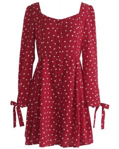 Get Hearts In Print Button - Robe boutonnée