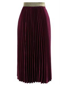 Gimme The Spotlight - Jupe mi-longue plissée en prune