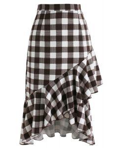 Obtenez jolie dans jupe frilling check en brun
