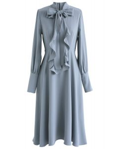 Secret to Sweetness Robe en mousseline Bowknot en bleu poussière