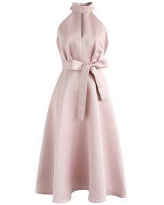 Robe mi-longue dos-nu rose
