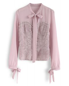 Be Your Sweet Heart Bowknot Top in Pink