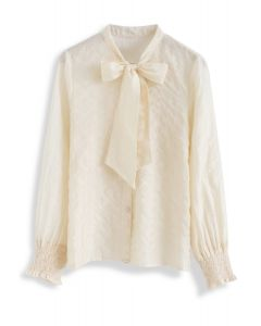 Chemise bowknot à rayures à la crème