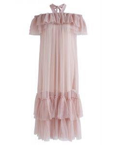 Robe en maille à épaules dénudées et licol rose