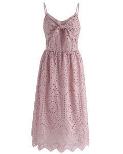 Robe camisole à motif œillets de fête en rose