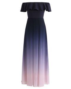 Robe dégradée à épaules dénudées en violet