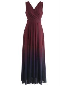 Gradient Revelry Maxi Dress sans manches en vin