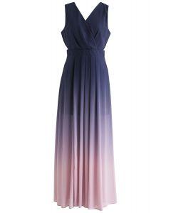 Gradient Revelry Maxi Dress sans manches en violet