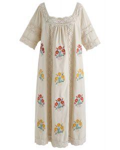 Toutes les rimes pour la robe brodée florale Boho en lin