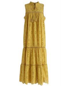 Robe longue bohème à œillets brodés, couleur moutarde