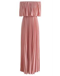 Robe longue plissée à épaule dénudée – couleur rose