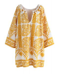 Touch The Skyline Boho Robe brodée en jaune