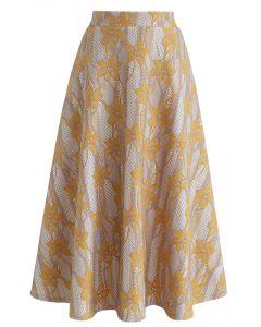 Jupe mi-longue à fleurs Bauhinia en jaune