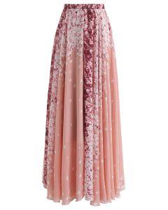 Jupe longue en mousseline à motifs de fleurs de cerisier et aquarelles