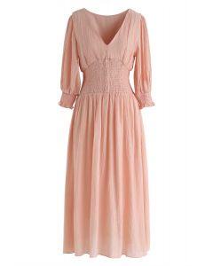 Rose comme cette robe à col en V froncé