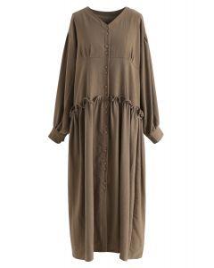 Viens dans ma robe de bouton de la vie en brun