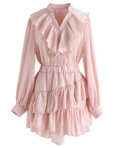 Gimme the the Ruffle Top and Skort Set in Pink