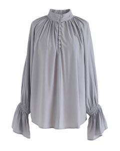 Up Together Smock Top in Dusty Blue