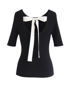 Just for Bowknot Cutout Knit Top en Noir